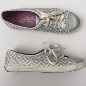 Keds Silver Chevron Canvas Sneaker - Size 7 Women